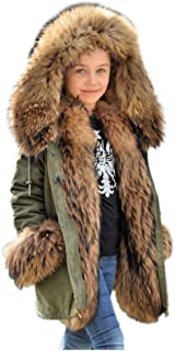Unisex Kids Casual Winter Faux Fur Hoodies Coat Warm Thicken Camo Parka Jacket Outdoor Trench Outwear for Girls Boys