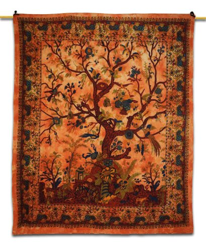 Baum des Lebens, Hippie-Wandteppiche, Wandbehänge, indisch, Wohnheim, küntlerische Wandbehänge, Stranddecke, Picknickdecke, orange, TWT7950