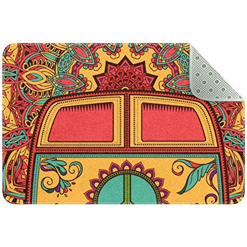Yoliveya Alfombrillas absorbentes de baño Hippie para coche, felpudo, suave, antideslizante, para el hogar, oficina, interior/exterior, 35 x 24 pulgadas