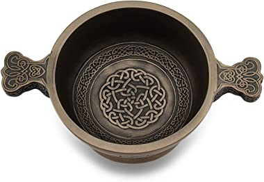 Celtic Knotwork Pattern Bronze Finished Two Handled Quaich Cup