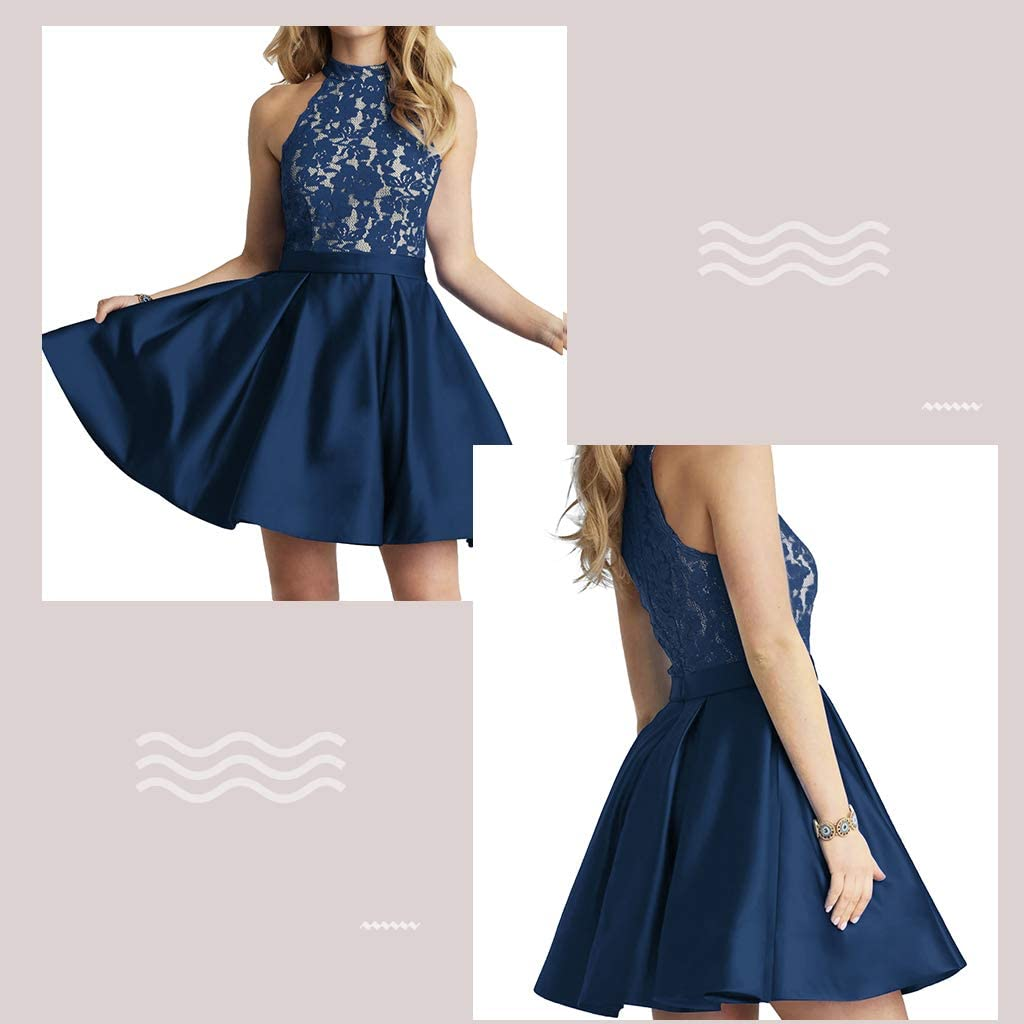 Homecoming Dress High Neck Short Cocktail Dresses Sleeveless Prom Dresses Gown Lace Homecoming Dresses