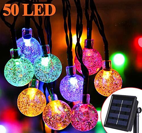 Solar Lichterkette Aussen - Zodight 7M Solar Gartenleuchte 50 LED Kristall Kugeln, 8 Modi Solarlichterkette Wasserdichte Innen/Außen für Garten, Bäume, Terrasse, Weihnachten (Mehrfarbig)