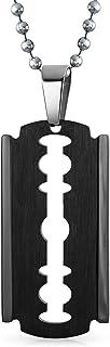 Hip Hop Biker Punk Rock Large Razor Blade Dog Tag Pendant Necklace for Men Black Silver Tone Stainless Steel 20 Inch