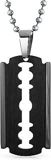 Razor Blade Black Beveled Edge Dog Tag Pendant Necklace for Men Stainless Steel 20 Inch