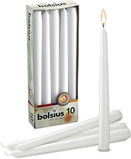 Bolsius 10 inch White taper candles (10 In a box)