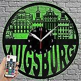 Orologio a LED in vinile – Orizzontale di Augsburg – Orologio da parete con luce LED – Orologio da parete in vinile – Esclusivo su ordinazione – Idea regalo originale – Orologio nero 12