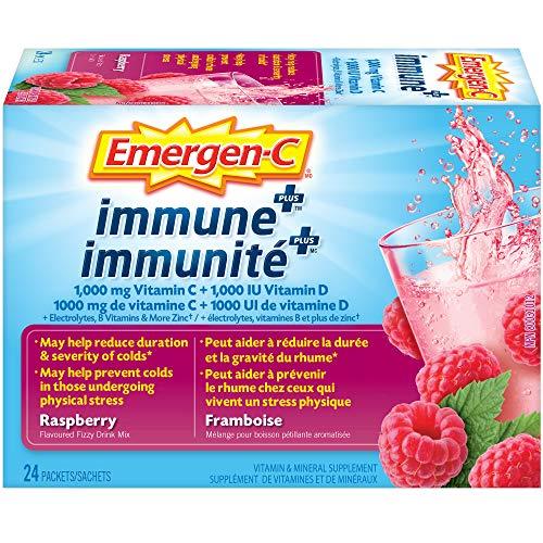 Emergen-C Raspberry Immune+ (24 Count), 1000Mg Vitamin C / B Vitamins Mineral Supplement