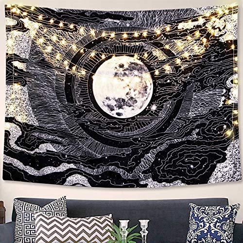 Accnicc Moon and Star Tapestry Wall Hanging Tapestries Black and White Wall Blanket Wall Art for Living Room Bedroom Home Decor (Black, 50'x60')
