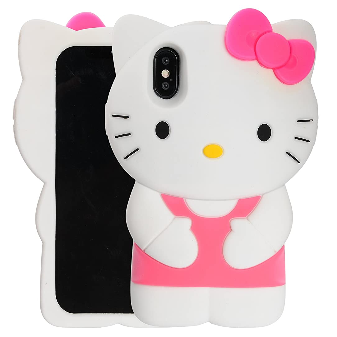 Case for iPhone X XS, Phenix-Color 3D Cute Cartoon Soft Silicone Hello Kitty Gel Back Cover Case for iPhone X XS Case Amp Prime(No.91)