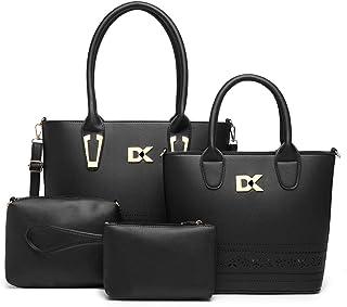Diana Korr Women's Shoulder Bag with Handbag (Black) (Set of 4)