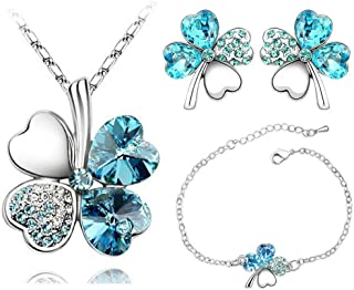 AILUOR Four Leaf Clovers Jewelry Set, Fashion Austrian Crystal Lucky Four Leaf Clover Necklace Bracelet or Earrings for Women Girl Wedding Party Gift
