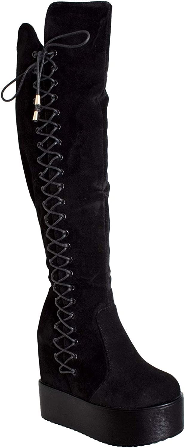 Generation Y Womens Knee High Boots Corset Lace Up Platform Wedge shoes Flatforms