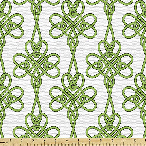Lunarable Celtic Fabric by The Yard, St. Patrick's Day Theme Celtic Knots Lucky Clover Design Pattern Irish Theme Print, Decorative Fabric for Upholstery and Home Accents, 1 Yard, White Green
