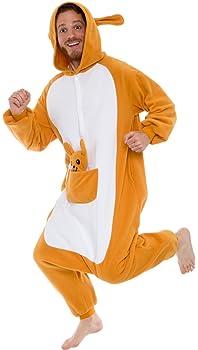 Silver Lilly Plush Kangaroo One Piece Animal Costume Unisex Adult Cosplay Pajamas