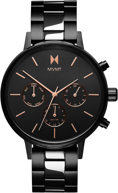 MVMT Reloj Cronógrafo para Mujer de Cuarzo con Correa en Acero Inoxidable D-FC01-BL