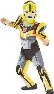mágica Clown–Niños–Carnaval Disfraz Transformers Bumblebee Completo con máscara, 98–104, 3–4años, color amarillo