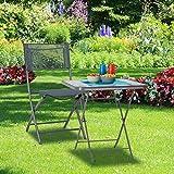 Relaxdays Klappstuhl Balkon, Metall, Kunststoff, Gartenstuhl, HxBxT: 87 x 55 x 48,5 cm, Balkonklappstuhl, anthrazit grau - 5
