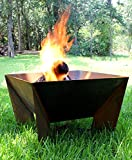 Dezen Cor-ten Steel Fire Pit - Wood Burning with Propane Gas Source