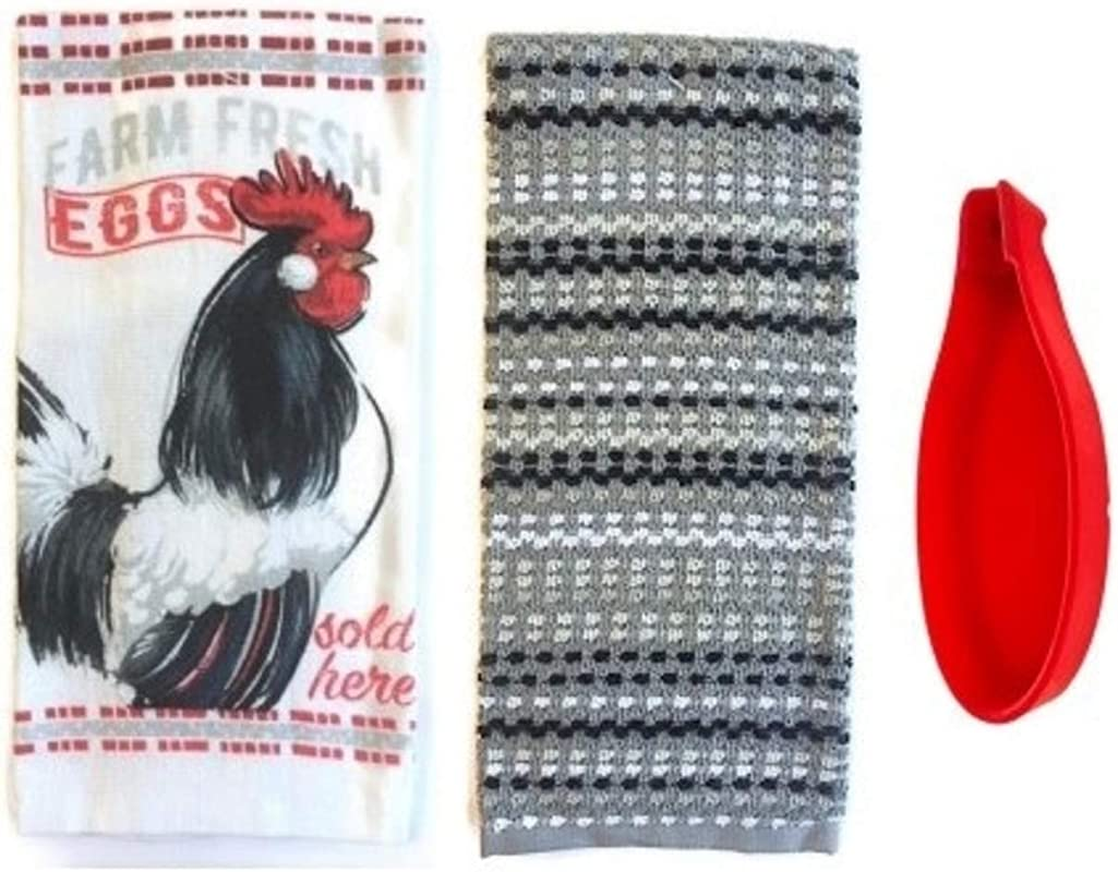 S C Farmhouse Rooster Kitchen Towels And Spoon Rest Bundle