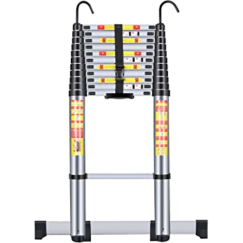 Handvoll Telescoping Ladder 15.5ft Aluminum Extension Folding Ladder, Portable Heavy Duty Multi-Purpose Telescopic Ladder with Slip-Proof Feet …