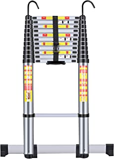 Handvoll Telescoping Ladder 15.5ft Aluminum Extension Folding Ladder, Portable Heavy Duty Multi-Purpose Telescopic Ladder with Slip-Proof Feet
