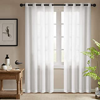 White Semi Sheer Curtains for Bedroom Casual Weave Linen Look Privacy White Heavy Sheer Curtain Set for Living Room 95 inc...