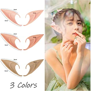 3 Pairs Soft Elf Ears Halloween Elven Vampire Ears Cosplay Accessories Masquerade Fairy Pixie Pointed Prosthetic Ear Set Anime Party Dress Up Medium