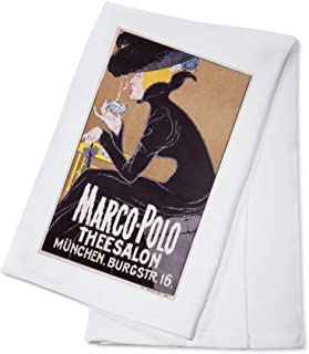 Marco-Polo Theesalon Vintage Poster (artist: Anonymous) Germany c. 1905 (100% Cotton Kitchen Towel)
