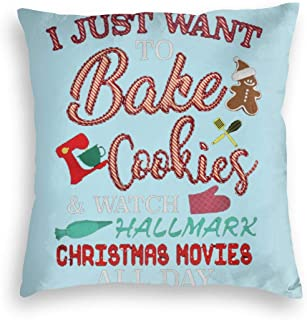 ISABEL HIGGINS I Just Want to Watch Hall-Mark Christmas Movies All Day Pillowcase Velvet Square Pillowcase 18