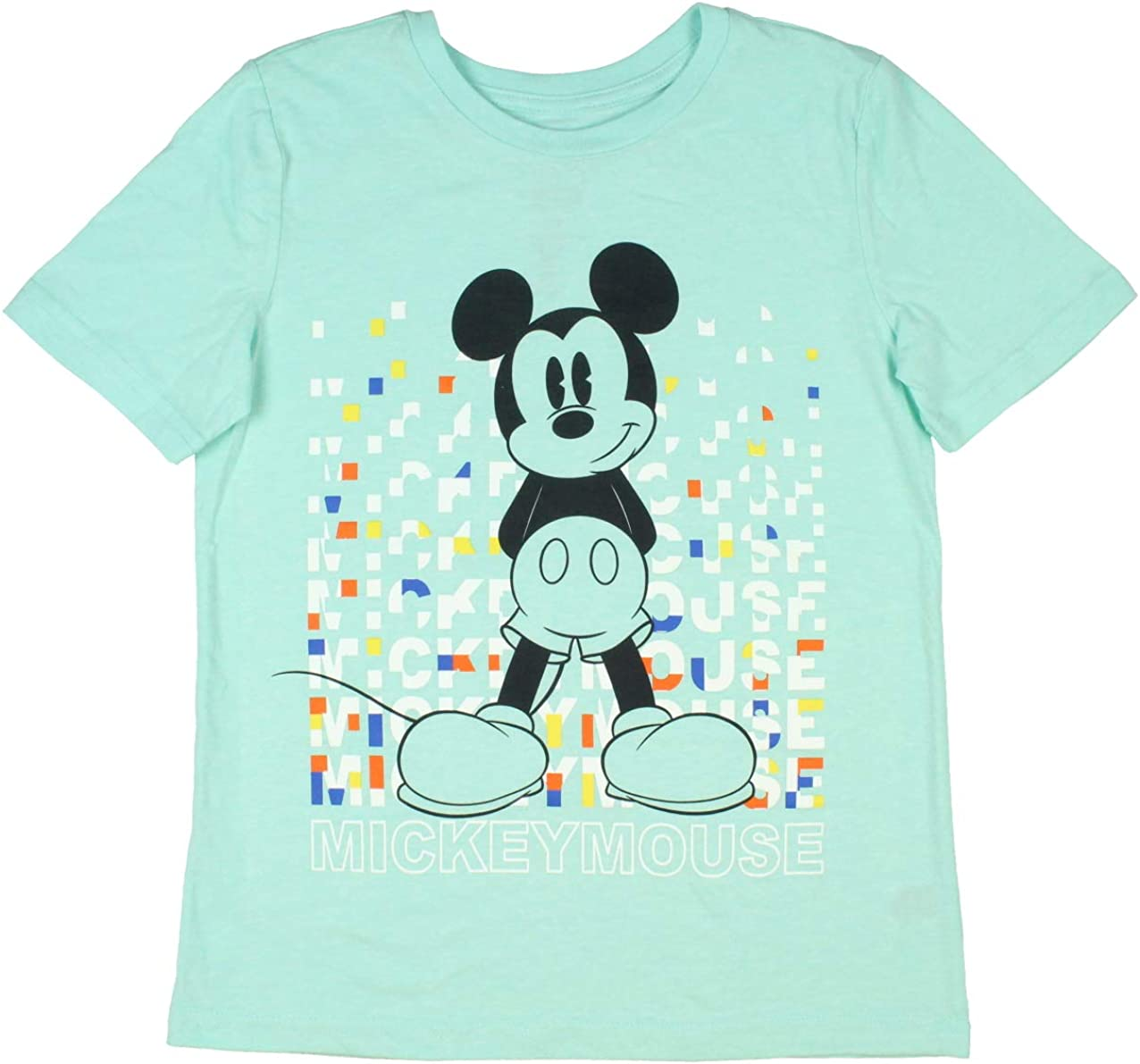 Disney Boy's Mickey Mouse Words Repeating Hands Behind Back T-Shirt