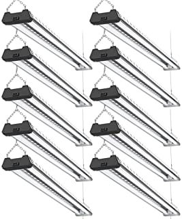 Sunco Lighting 10 Pack Industrial LED Shop Light, 4 FT, Linkable Integrated Fixture, 40W=260W, 5000K Daylight, 4000 LM, Surface + Suspension Mount, Pull Chain, Utility Light, Garage - ETL, Energy Star