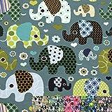 MAGAM-Stoffe Julia Bunte Elefanten Kinder Jersey Stoff