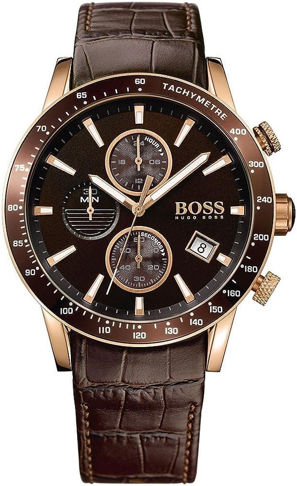 Hugo boss orologio  cronografo da uomo cinturino in pelle e quadrante in acciao inox 1513392