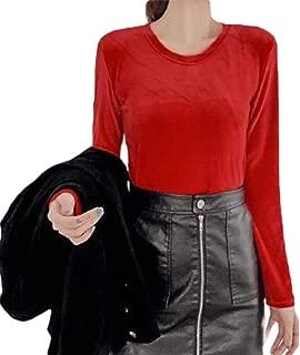 Women Casual Long Sleeve Pullover Velvet Tops Round Neck Sweatshirt Blouse Shirt