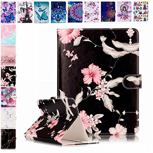 E-Mandala Universal 7 Zoll Hülle Etui Flip Hülle Leder Wallet Cover Tablet PC Tasche mit Kartenfach Klapphülle Ledertasche Lederhülle - Blume Schwarz