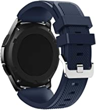 EEEKit Soft Silicone Replacement Sport Strap for Samsung Gear S3 Frontier/S3 Classic/Moto 360 2nd Gen 46mm (Navy Blue+White) …