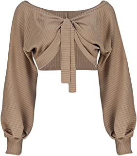 Women Sexy Off Shoulder Long Sleeve Crop Top Tie Up Front Blouse Shirt