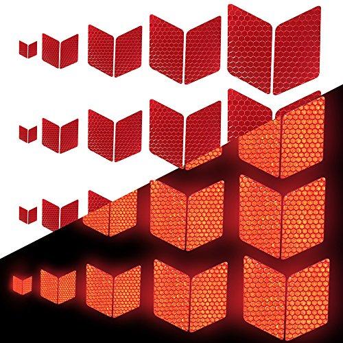 Tuqiang Diamant-Form Reflektierendes Klebeband Wasserdicht Selbstklebend Für Scooter Tractor Excavator Hohe Sichtbarkeit Band Sicherheit im Freien Reflektierend Aufkleber 25 Stück Rot