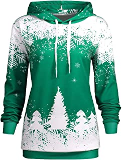 Women's Christmas Hooded Snowflake Christmas Tree Print No Pocket Drawstring Sweater Pullover Top