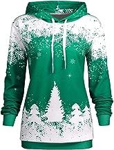 MoonHome Women's Christmas Hooded Snowflake Christmas Tree Print No Pocket Drawstring Sweater Pullover Top
