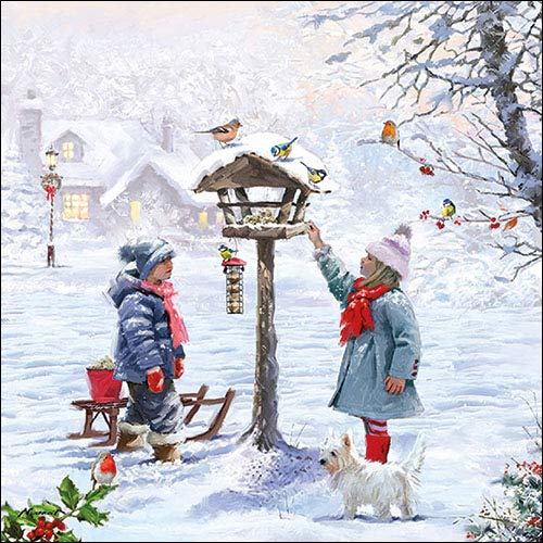 Papier Servietten Lunch Fest Party ca 33x33cm Herbst Autumn Weihnachten Winter Feeding Birds