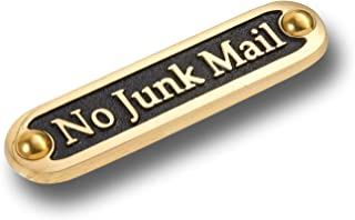 No Junk Mail Metal Brass Door Sign. Traditional Style Home Décor Wall Plaque Handmade by The Metal Foundry UK.
