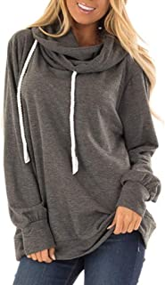 ★ Futurelove ★ Hoodies for Womens, Solid Color Long Sleeve Drawstring Collar Hooded Sweatshirt Plus Size Loose Pullover