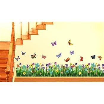 Decals Design StickersKart Wall Stickers Walking in the Garden Flower Border Design (Multicolor)