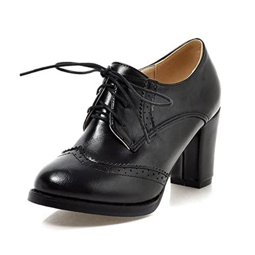 2d206e8dba WAROFT Ladies Vintage Chunky Block High Heels Lace Up Brogue Shoes Round  Toe Fashion Women Dress