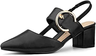 Allegra K Women's Buckle Pointed Toe Chunky Heels Mules Pumps