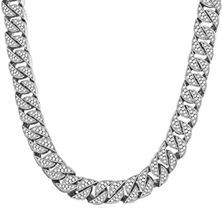 13mm Mens Iced Out Chain Necklace Hip Hop Gold Tone CZ Miami Cuban Link Chain Choker Necklace 18-26inchs