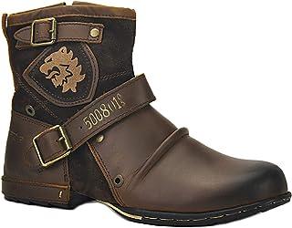 Botas para Moto Botines Hombre de Invierno Piel Zapatos Negras Vestir Nieve Piel Forradas Calientes Planas Combate Militares Cremallera Boots 5008-44-BROWN-FUR
