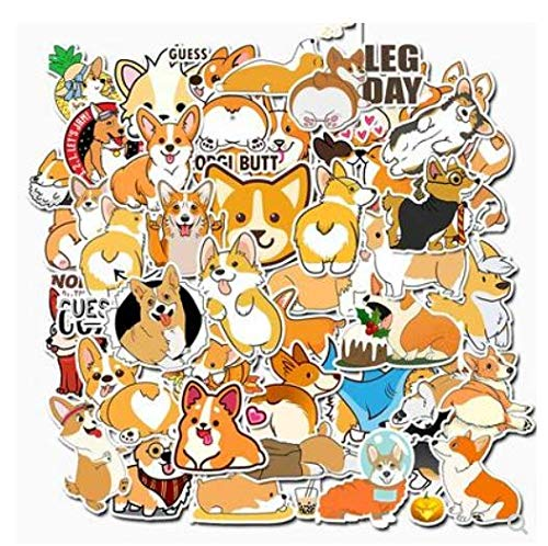 Cute Cute Pet Corgi Stickers Suitcase Motorcycle Trolley Case Laptop Waterproof Stickers 50 Sheets