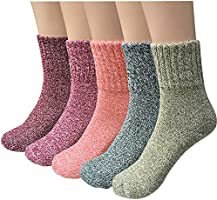 Womens Wool Socks, 5 Pairs Vintage Thick Knit Winter Warm Socks for Women Men Gifts